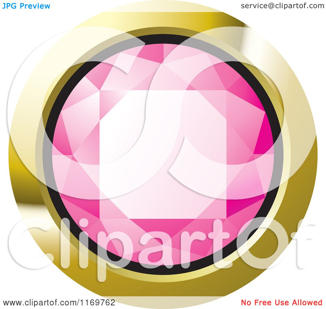Clipart of a Round Pink Diamond or Gemstone with a Gold Frame ...
