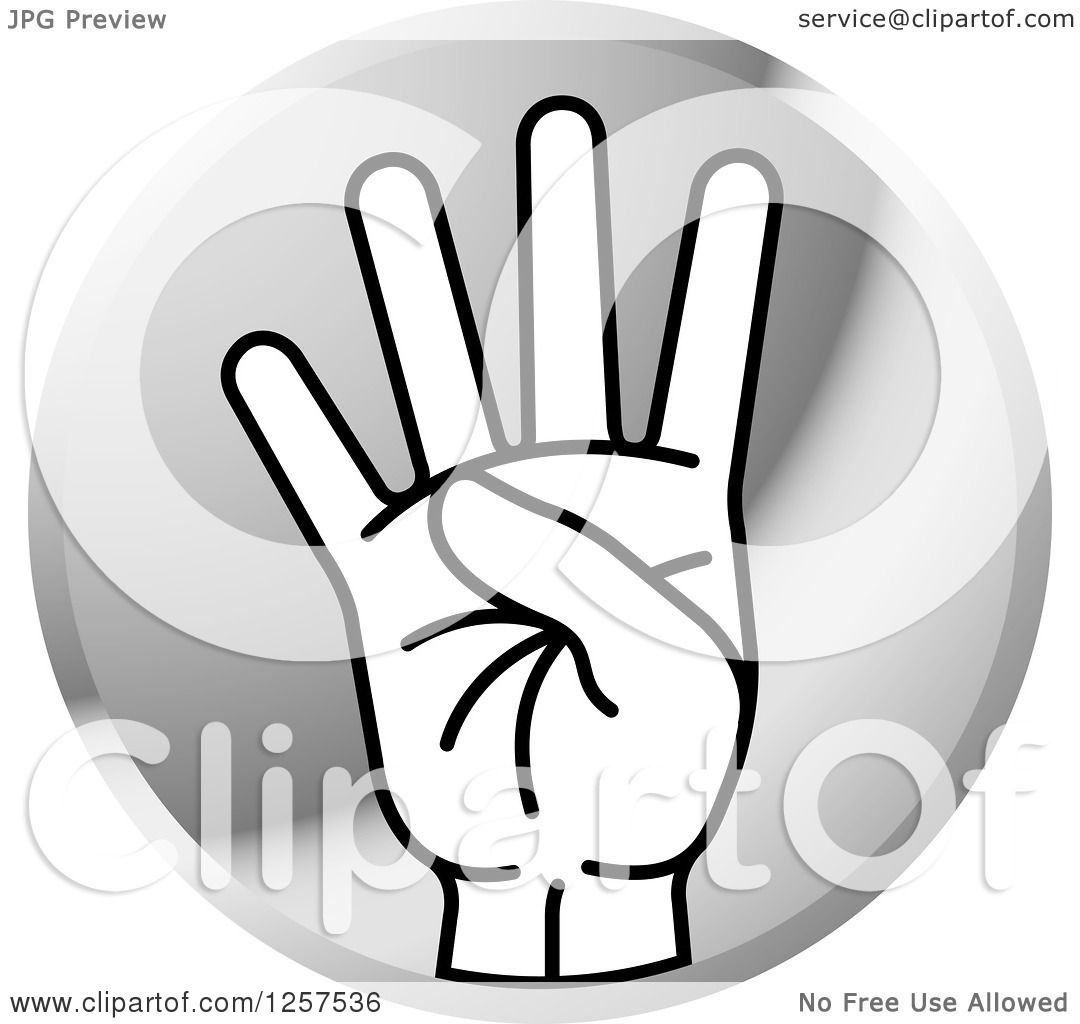 Clipart of a Round Silver Icon of a Counting Hand Holding ...