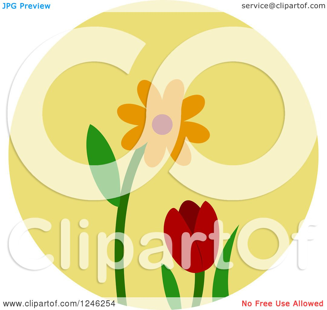Clipart Of A Round Yellow Flower Icon Royalty Free Vector