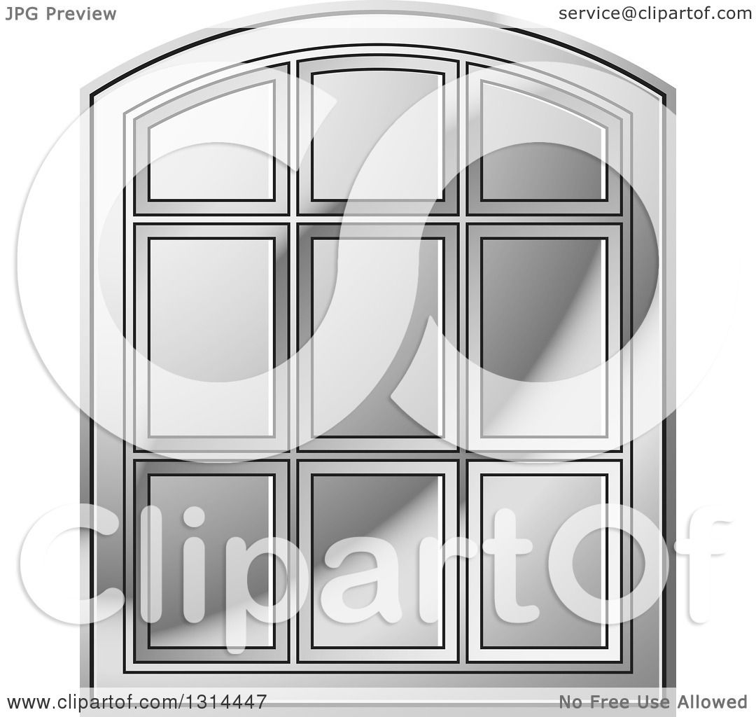 Clipart of a Rounded Top Silver Window Frame - Royalty Free Vector ...
