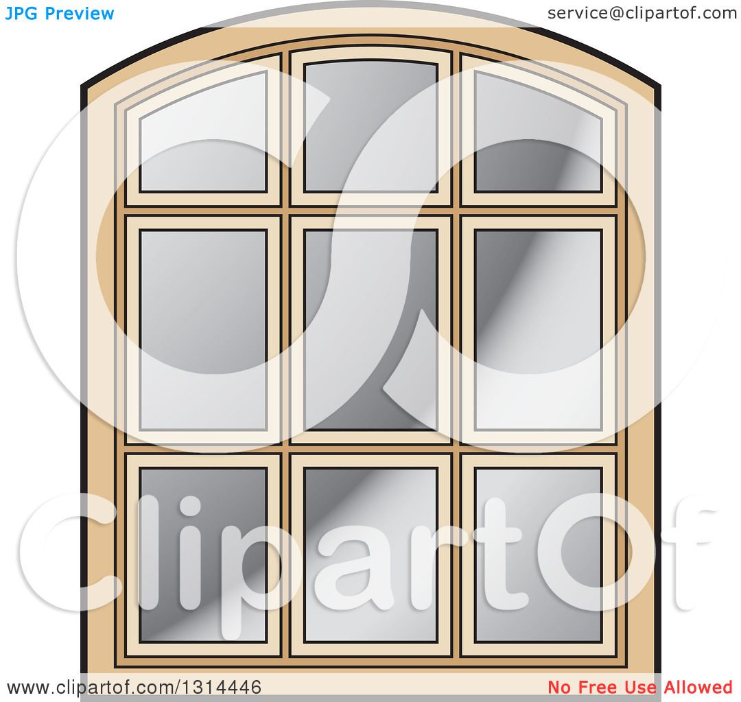 Clipart of a Rounded Top Wooden Window Frame - Royalty Free Vector ...