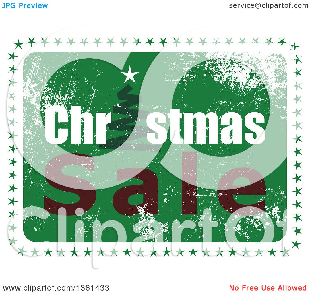 Clipart Of A Rubber Stamp Styled Green Christmas Sale Design With A