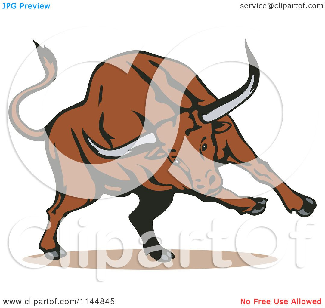Clipart of a Running Bull - Royalty Free Vector Illustration by patrimonio #1144845