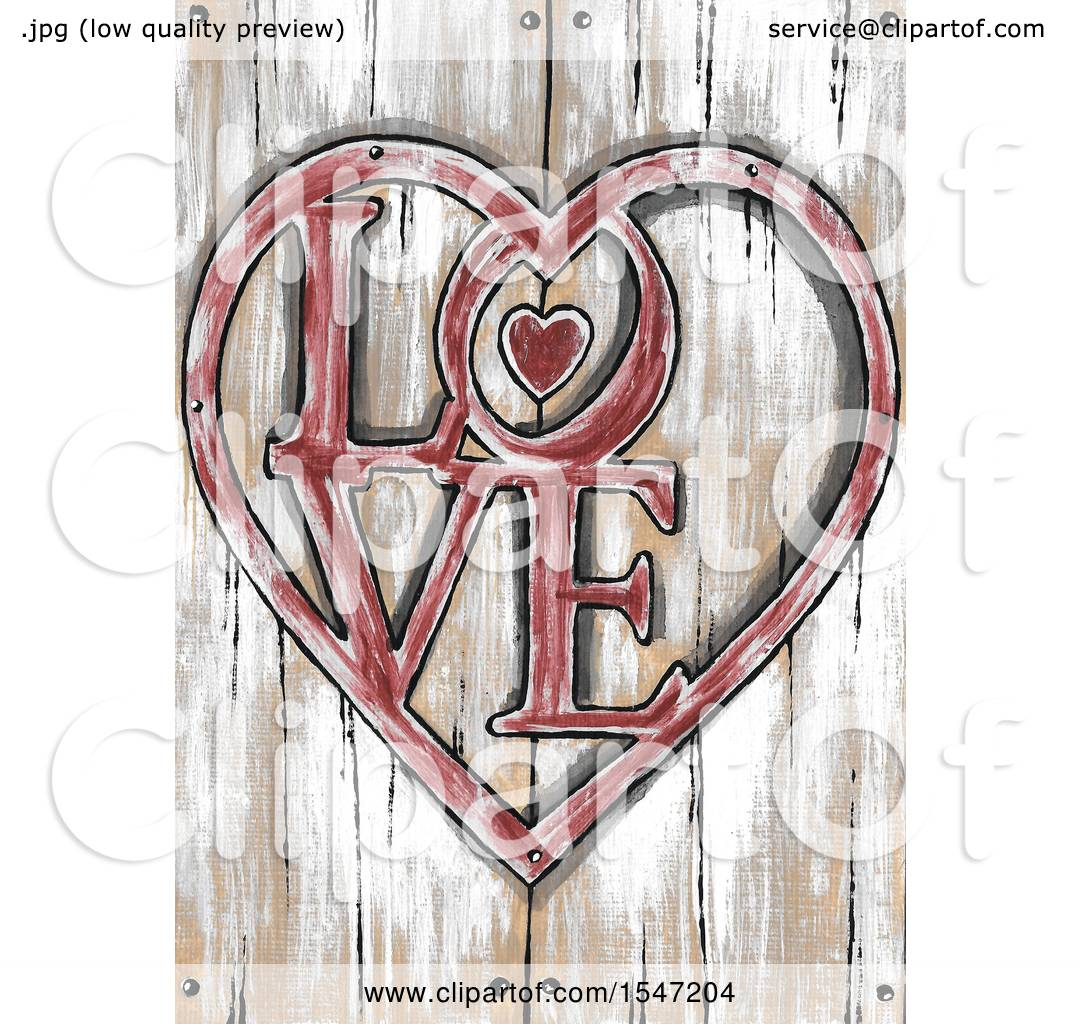 Clipart Of A Rustic Love Word Heart Over Wood Panels