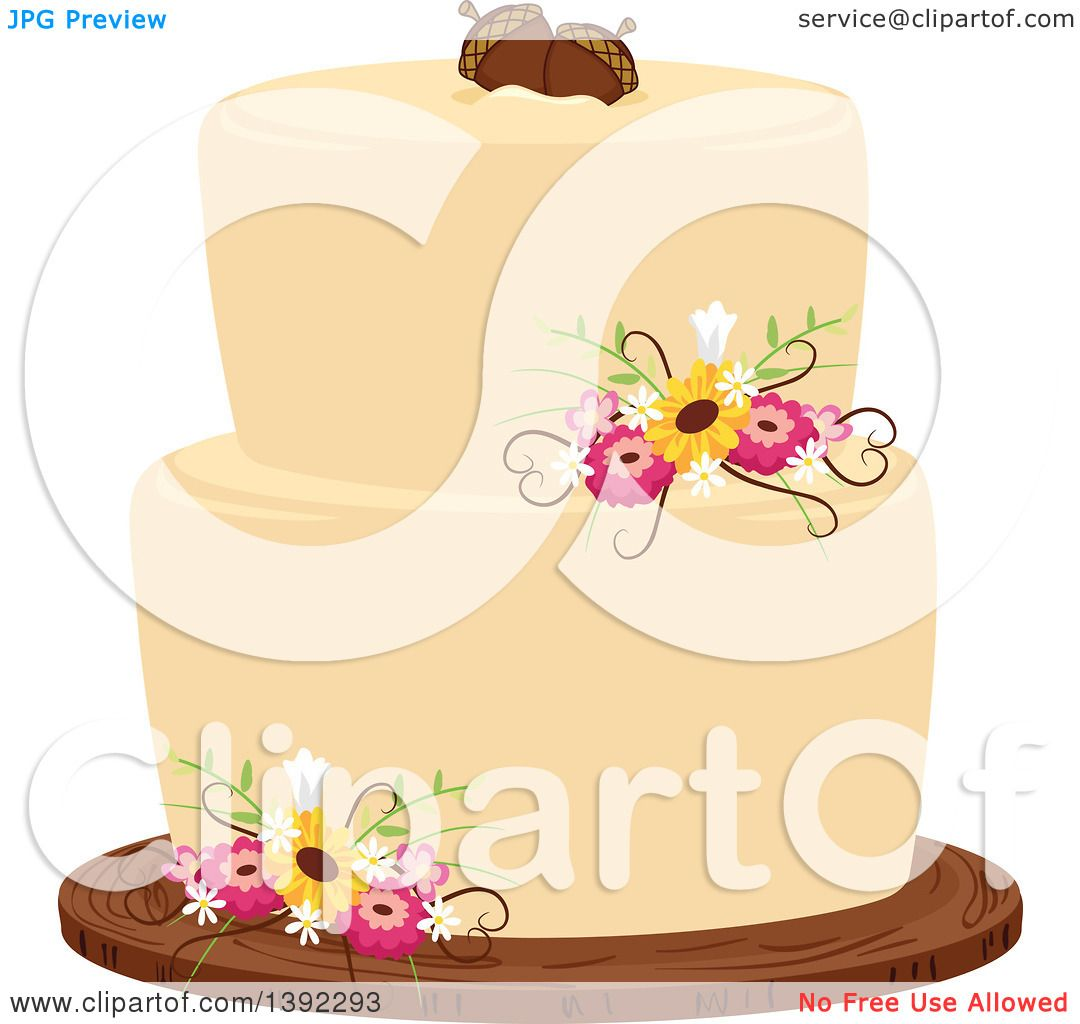Clipart of a Rustic Themed Wedding Cake with Flowers and Acorns ...