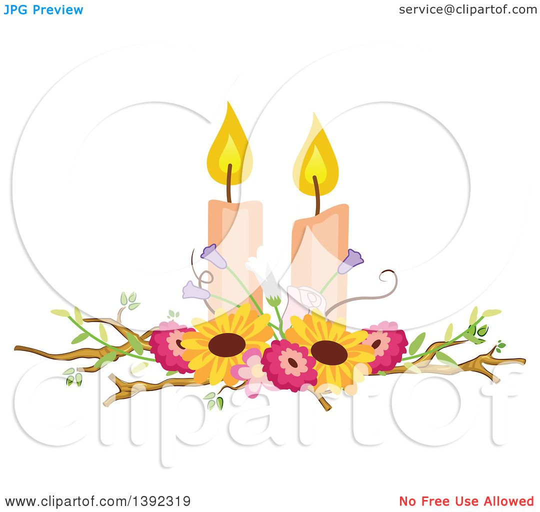 Clipart of a Rustic Themed Wedding Candle and Flower Table ...