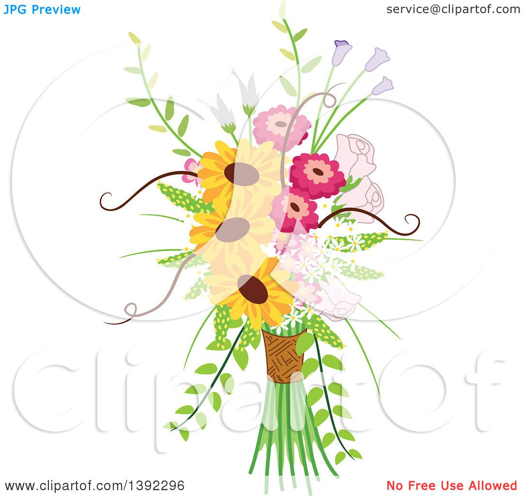 Clipart Of A Rustic Themed Wedding Floral Bouquet