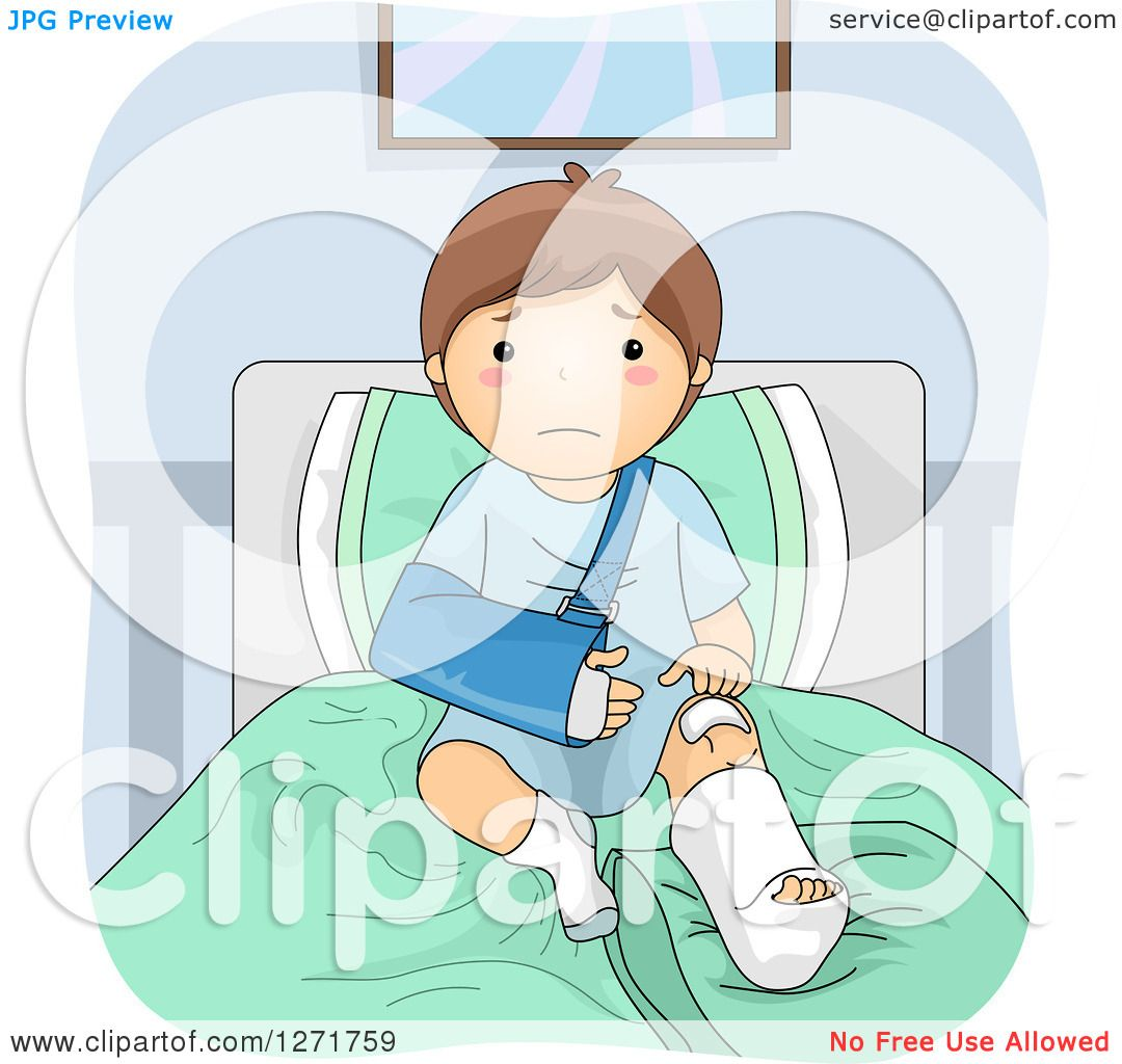 Clipart Of A Sad Brunette White Boy With A Sling And Cast In A