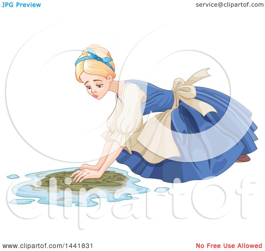 Clipart Of A Sad Cinderella As A Maid Scrubbing A Floor Royalty