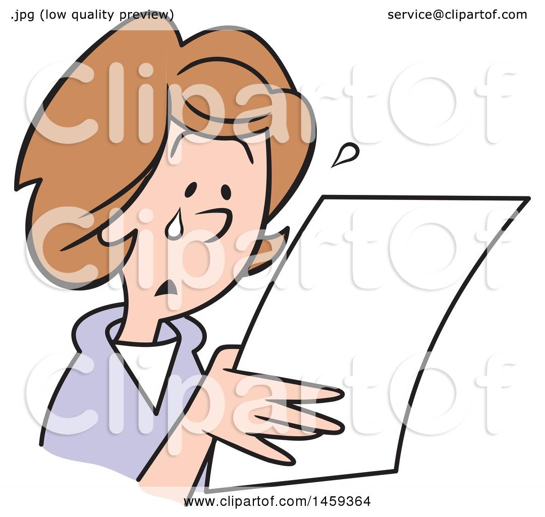 Clipart Of A Sad Woman Crying And Reading A Letter  Royalty Free