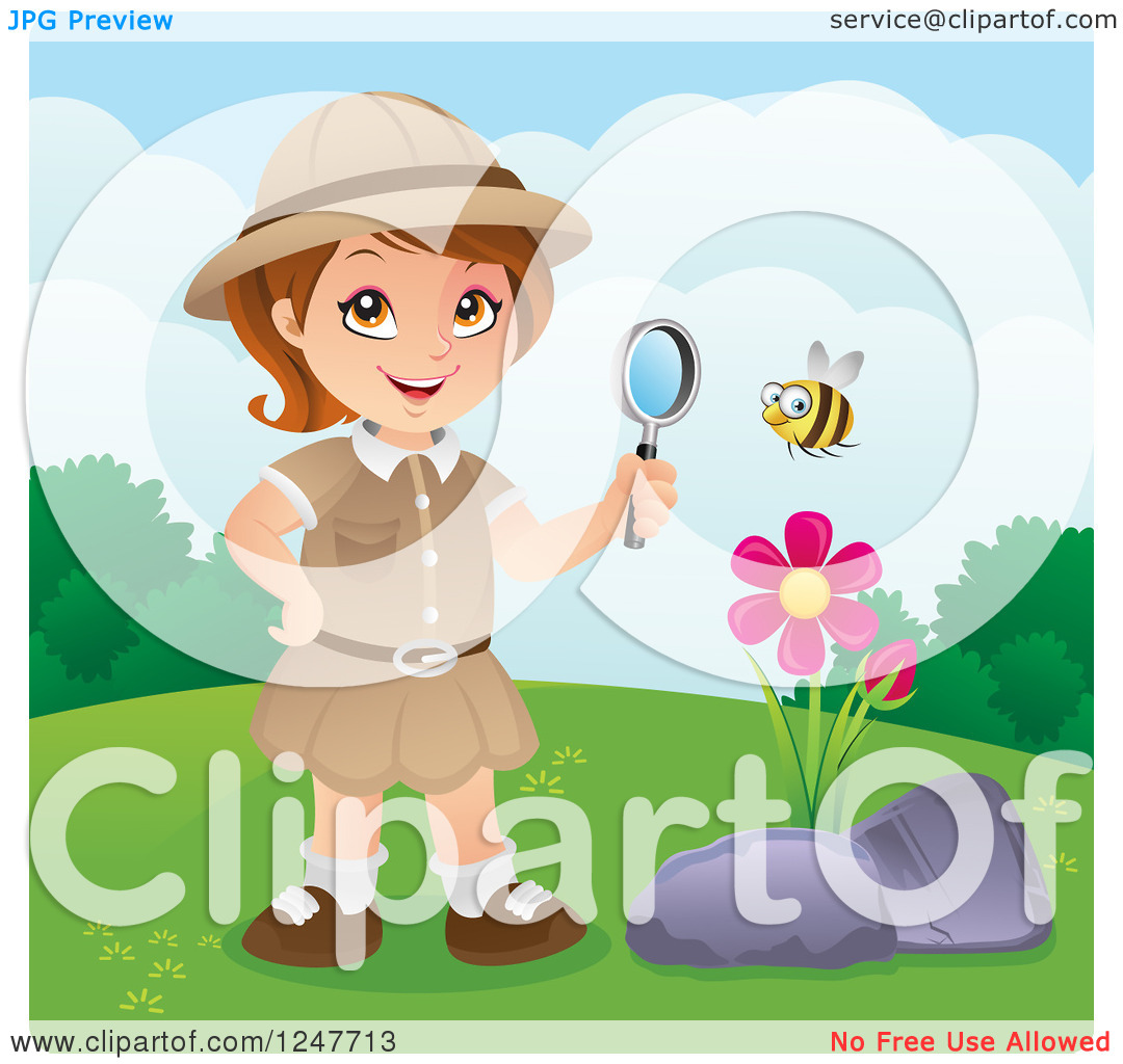 Clipart Of A Safari Explorer Girl Watching A Bee With A