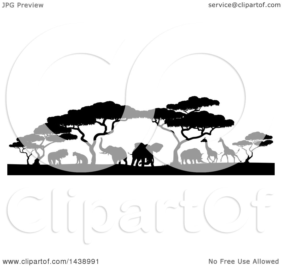 Clipart Of A Safari Scene Of Black Silhouetted African