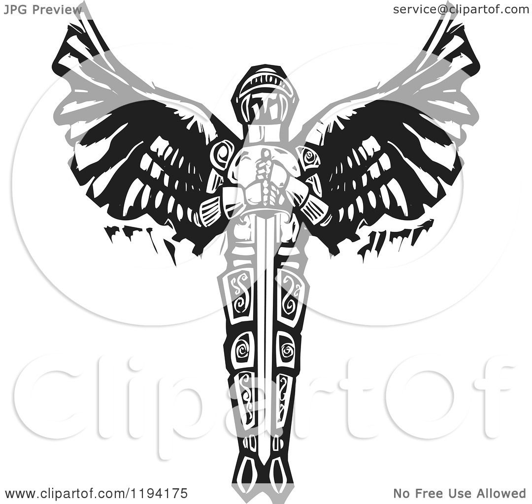 Clipart of a saint michael the archangel with a sword black and clipart of a saint michael the archangel with a sword black and white woodcut royalty free vector illustration by xunantunich biocorpaavc Images
