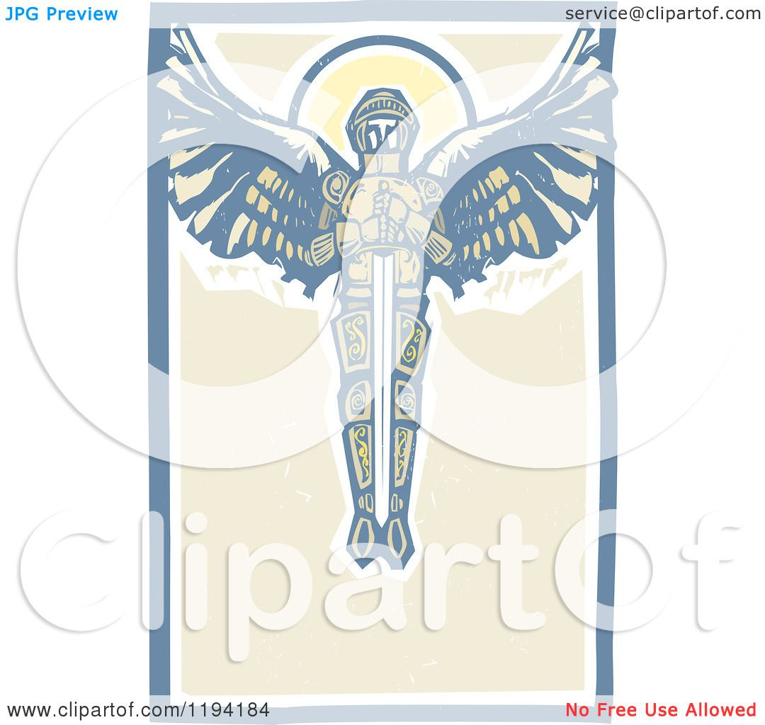 Clipart of a saint michael the archangel with a sword in the sky clipart of a saint michael the archangel with a sword in the sky woodcut royalty free vector illustration by xunantunich biocorpaavc Images