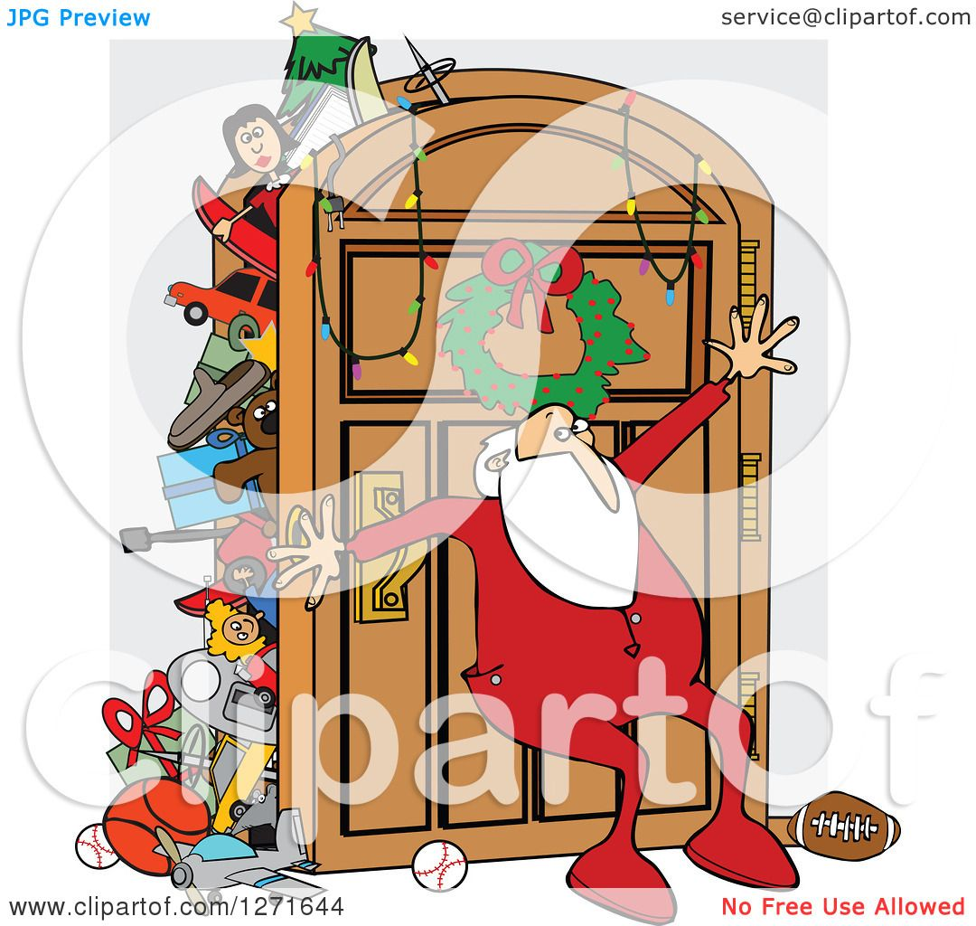 Clipart Of A Santa Claus In His Pajamas Leaning Against An Overflowing Closet Door