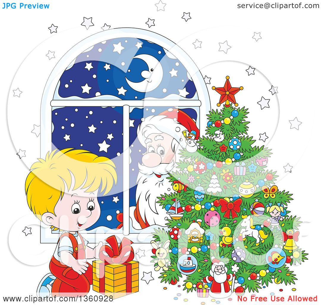 Clipart Of A Santa Claus Peeking In A Window Watching A