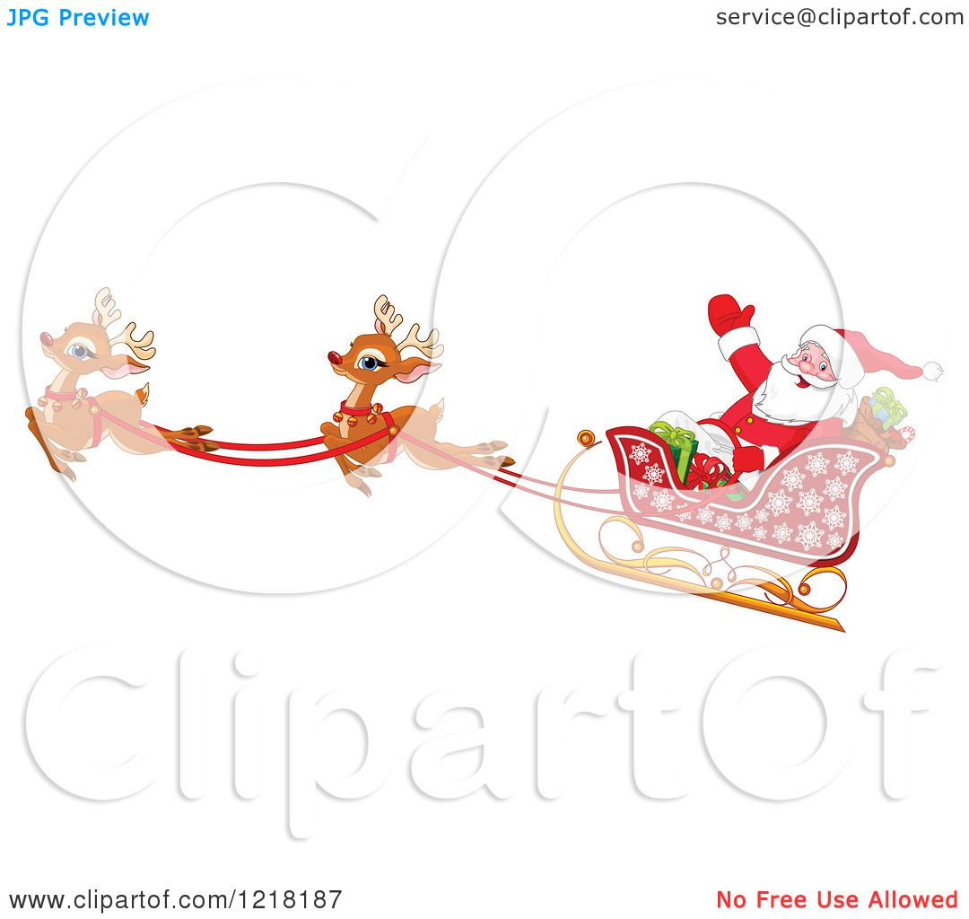 Clipart of a Santa Waving in His