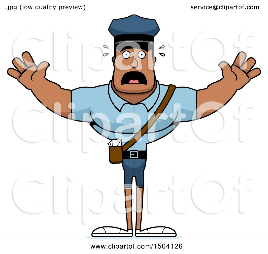 Oficial Nosotros mismos paso  Clipart of a Scared Buff African American Mail Man - Royalty Free Vector  Illustration by Cory Thoman #1504126