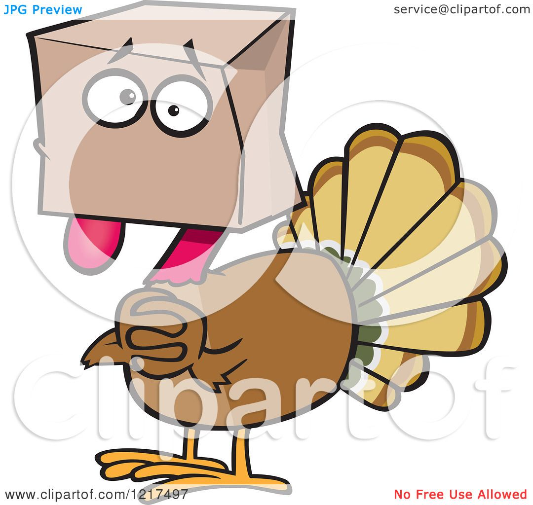 clipart of a scared cartoon turkey bird hiding under a bag