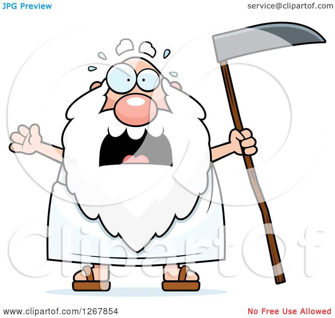 Clipart of a Scared Screaming Father Time Senior Man Holding a ...
