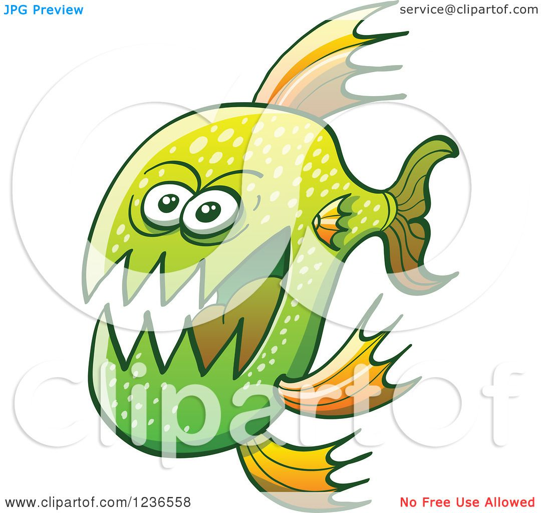 Clipart of a Scary Green Carnivorous Fish - Royalty Free Vector ...