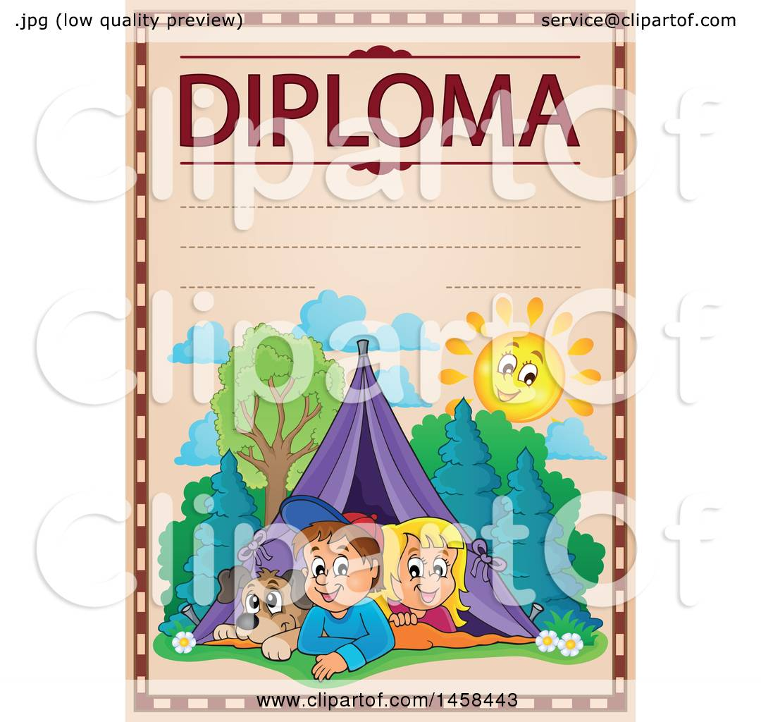 clipart of a school diploma design camping children royalty  clipart of a school diploma design camping children royalty vector illustration by visekart