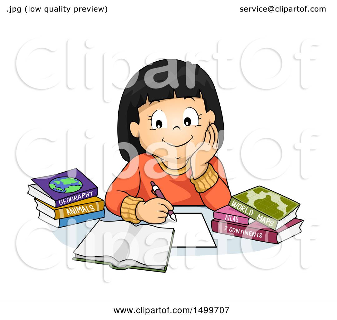 clipart of a school girl studying geography royalty free vector rh clipartof com Person Studying Clip Art Studying in Bed