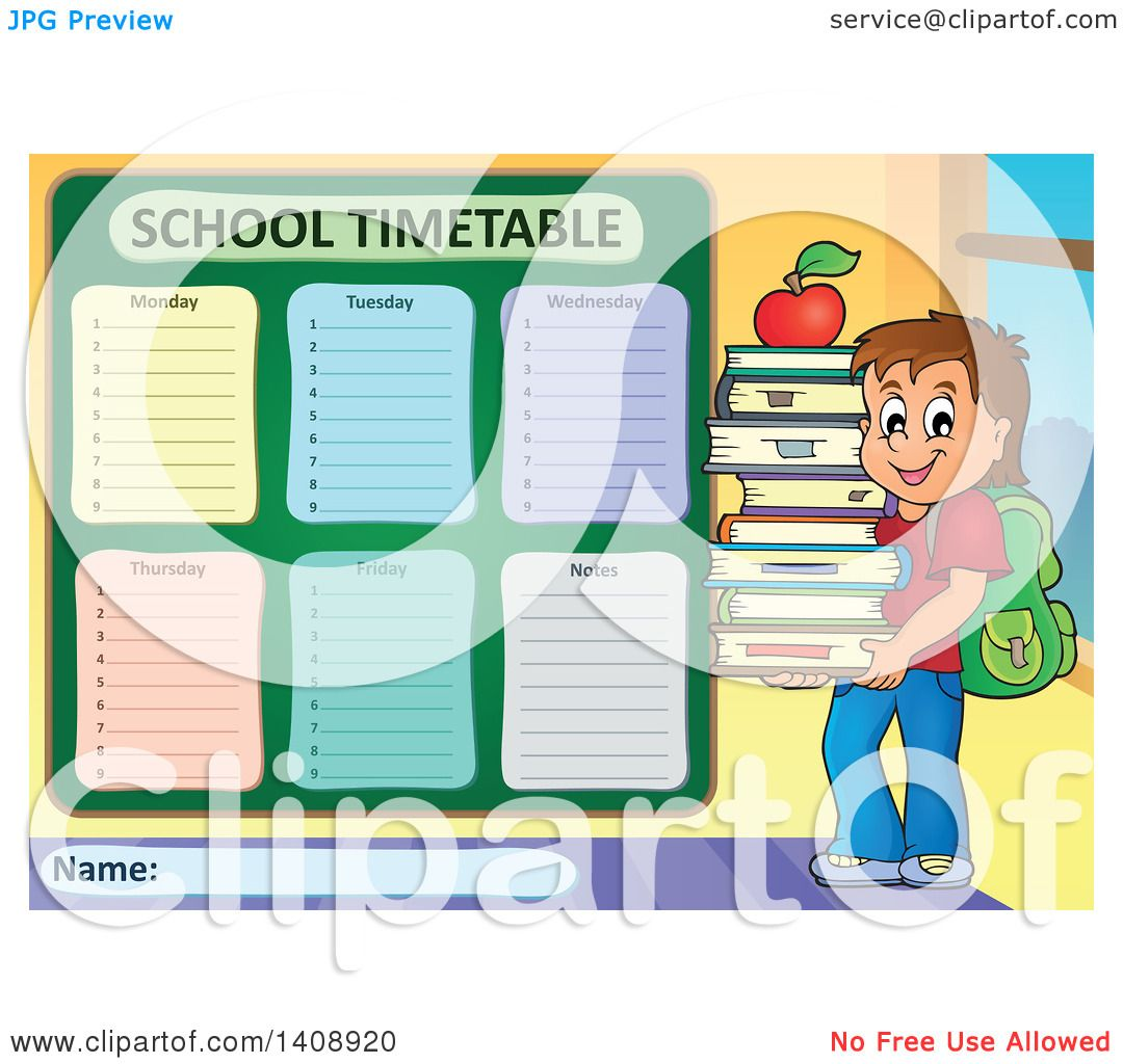 Clipart of a School Time Table Schedule Design and Boy - Royalty ... for School Table Clipart  110ylc