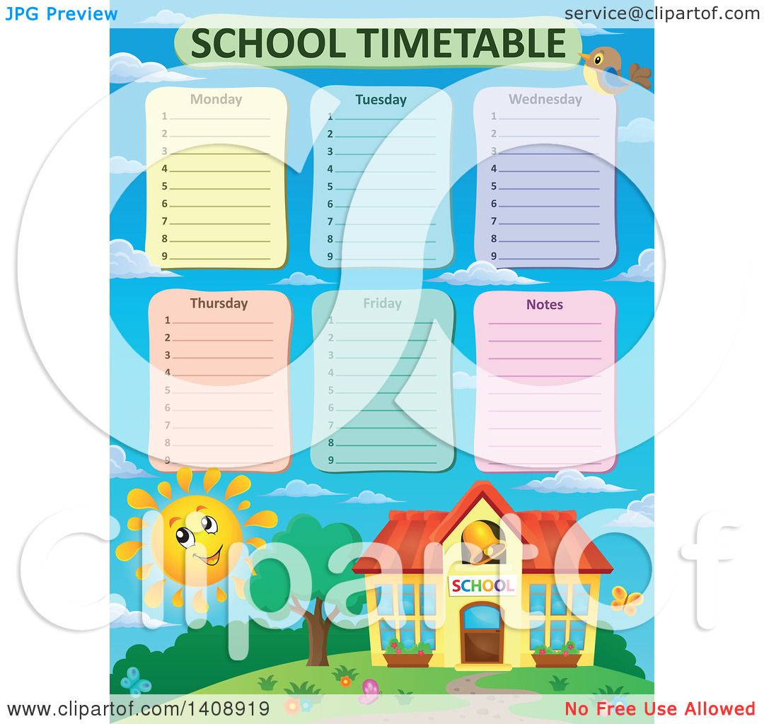 Clipart of a School Time Table Schedule Design over a Happy Sun – School Time Table Designs