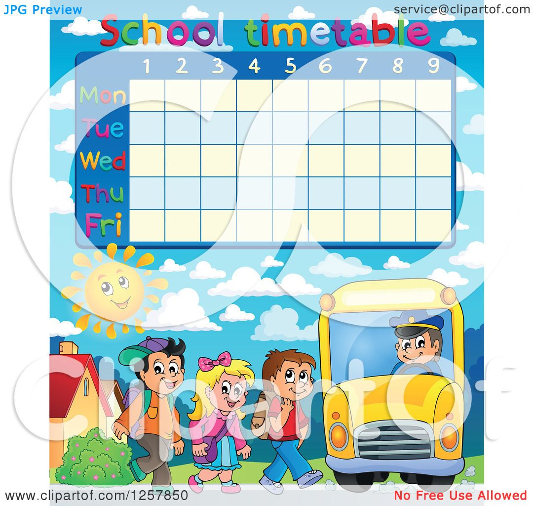 Clipart of a school timetable with children loading a bus clipart of a school timetable with children loading a bus royalty free vector illustration by visekart voltagebd Choice Image