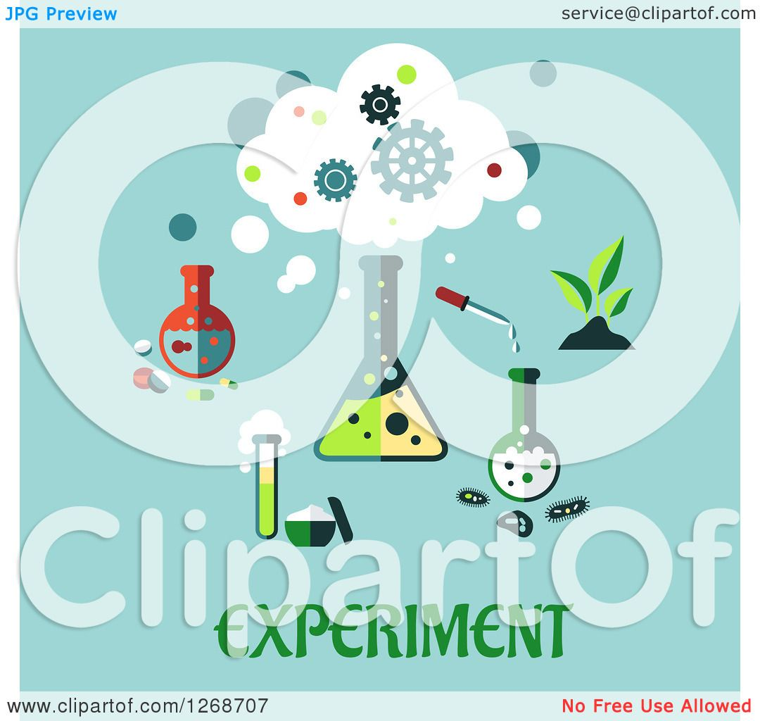Clipart Of A Science Lab Equipment Over Experiment Text On Blue