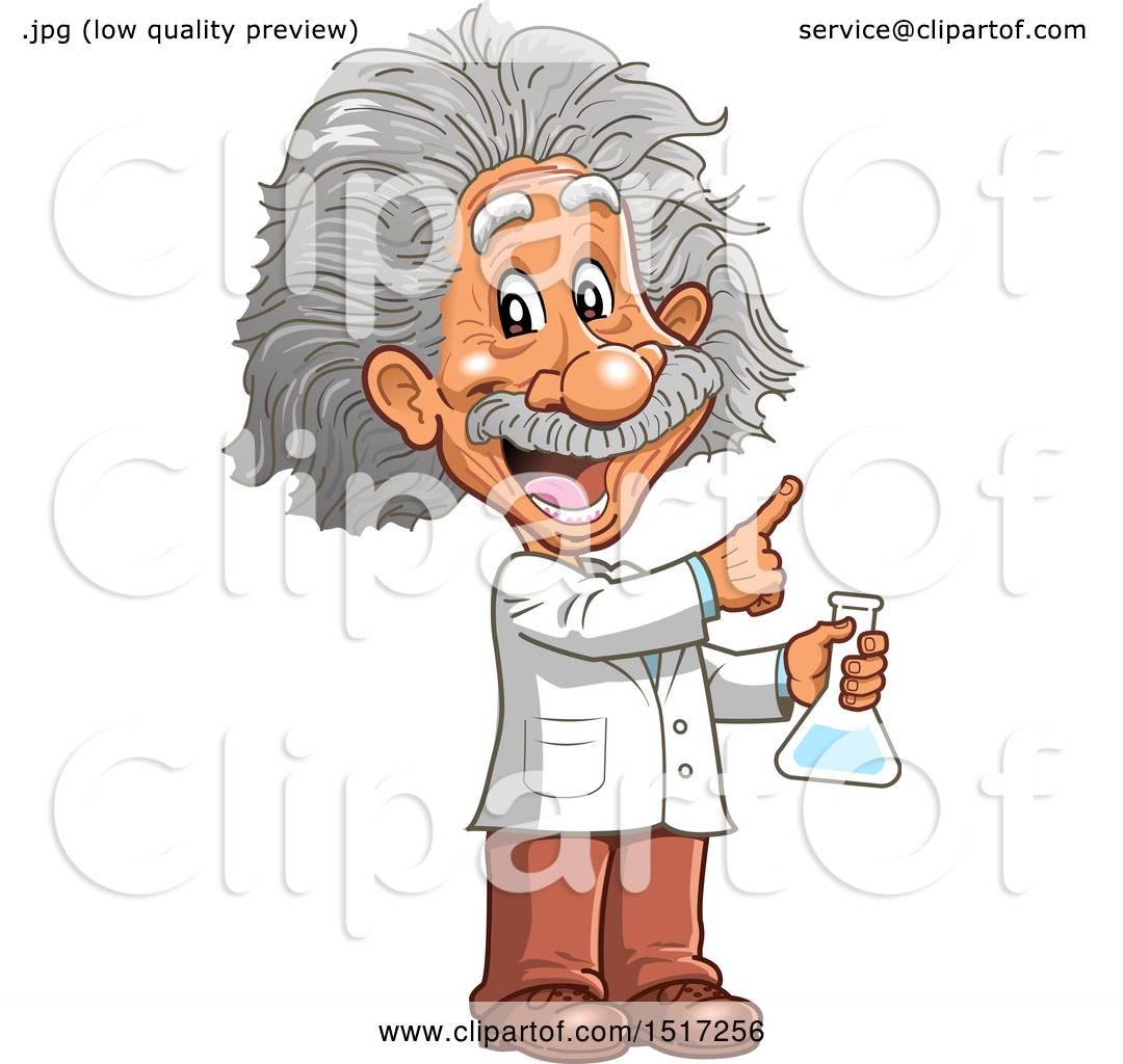 Clipart of a Scientist, Albert Einstein, Holding a Beaker ...