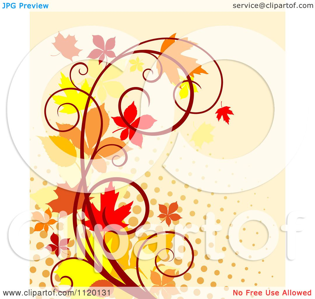 Clipart Of A Scroll Vine With Autumn Leaves Over Halftone ...