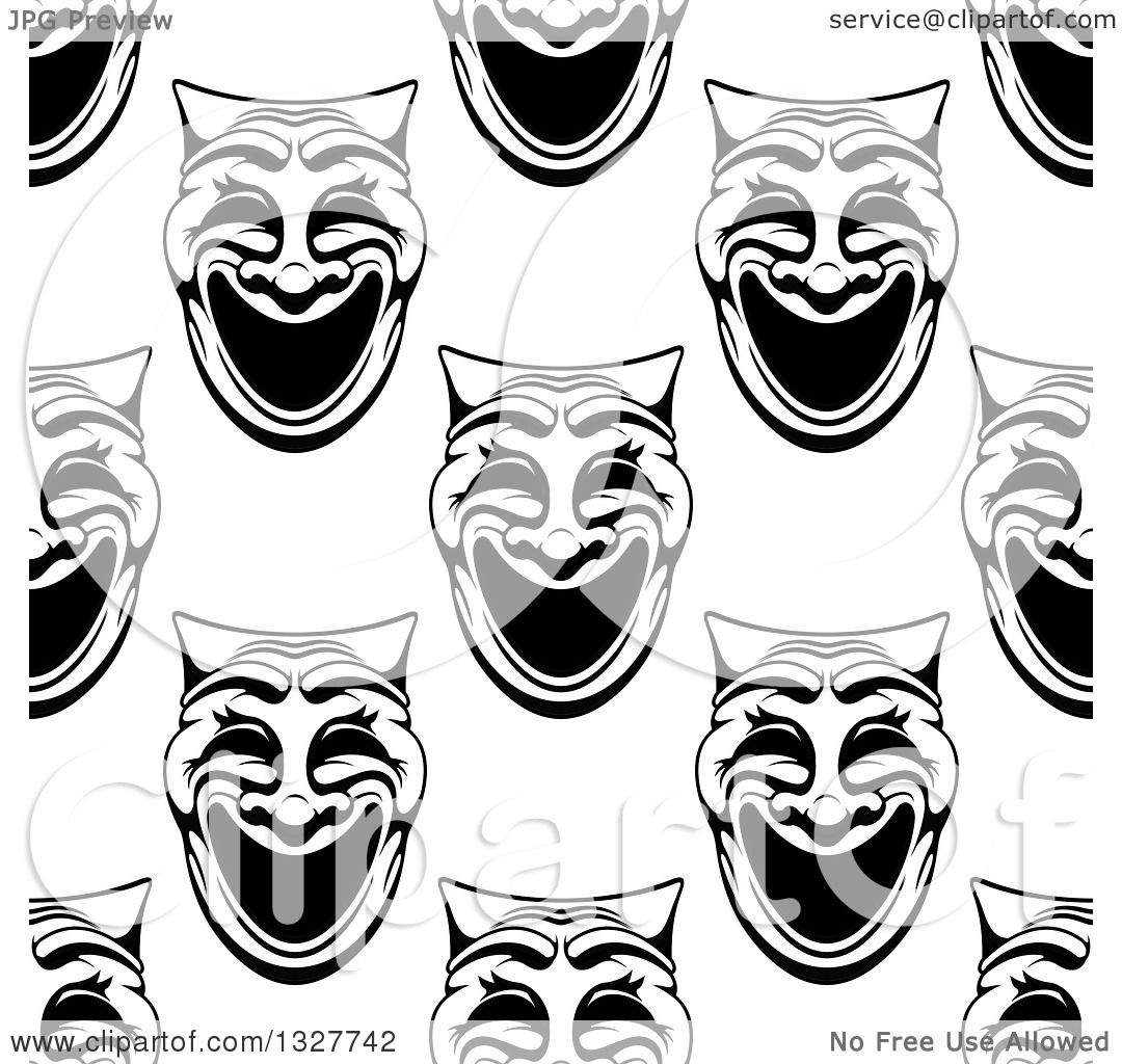 Clipart of a Seamless Background Pattern of Black and White Comedy ...