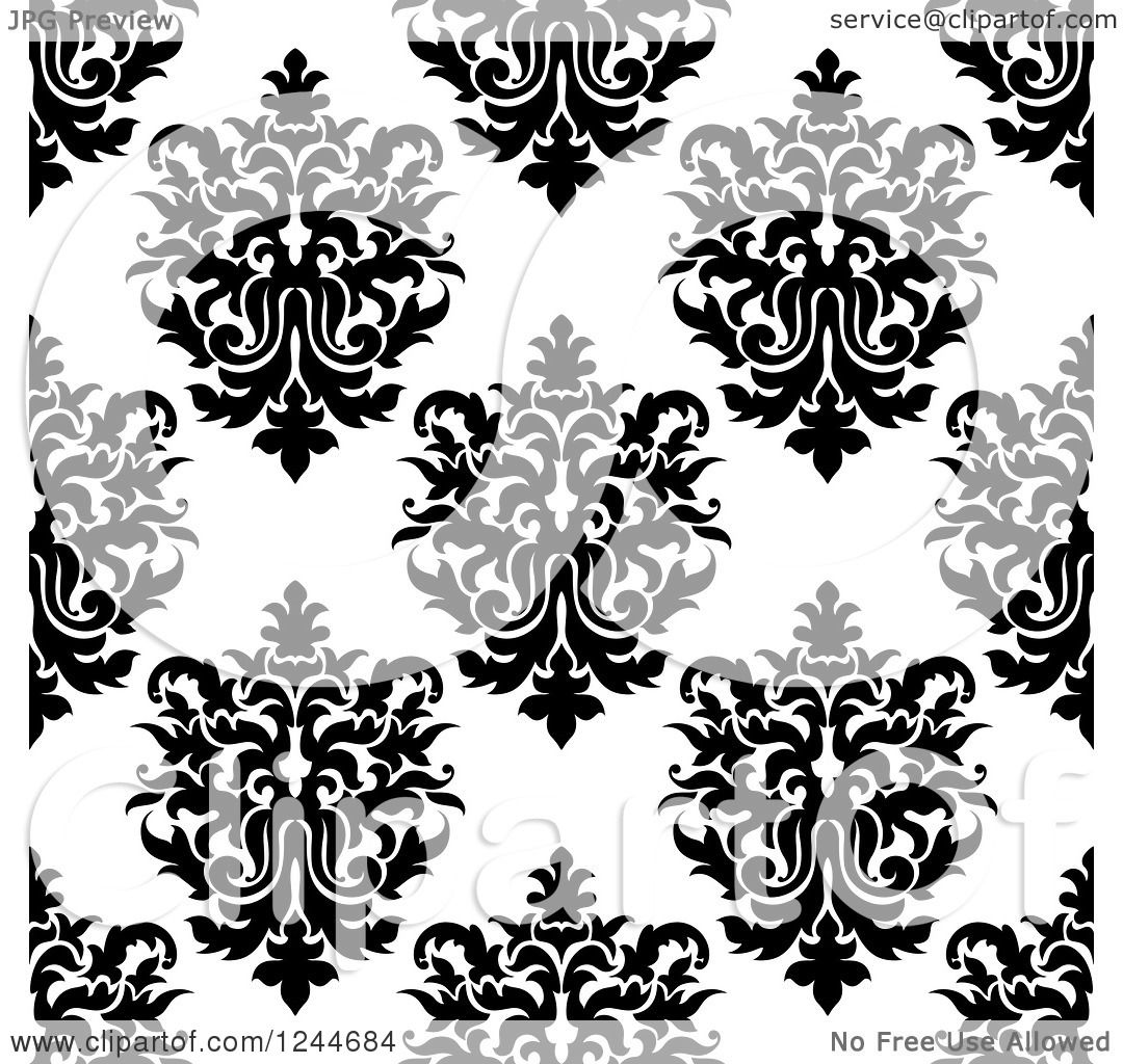 Clipart of a Black and White Vintage Seamless Floral
