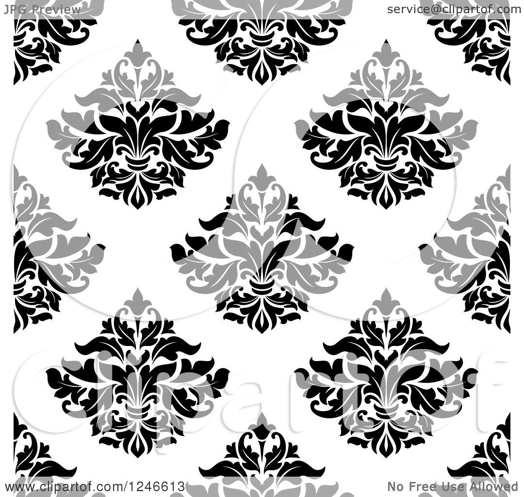 Clipart of a Seamless Pattern Background of Vintage Damask