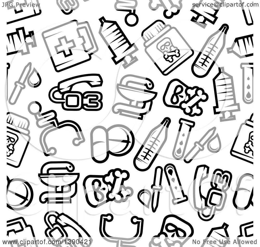 Clipart Of A Seamless Background Pattern Of Black And White Medical And Pharmaceutical Items Royalty Free Vector Illustration 10241390421 medical review of systems form on printable pantone color chart hp latex 360
