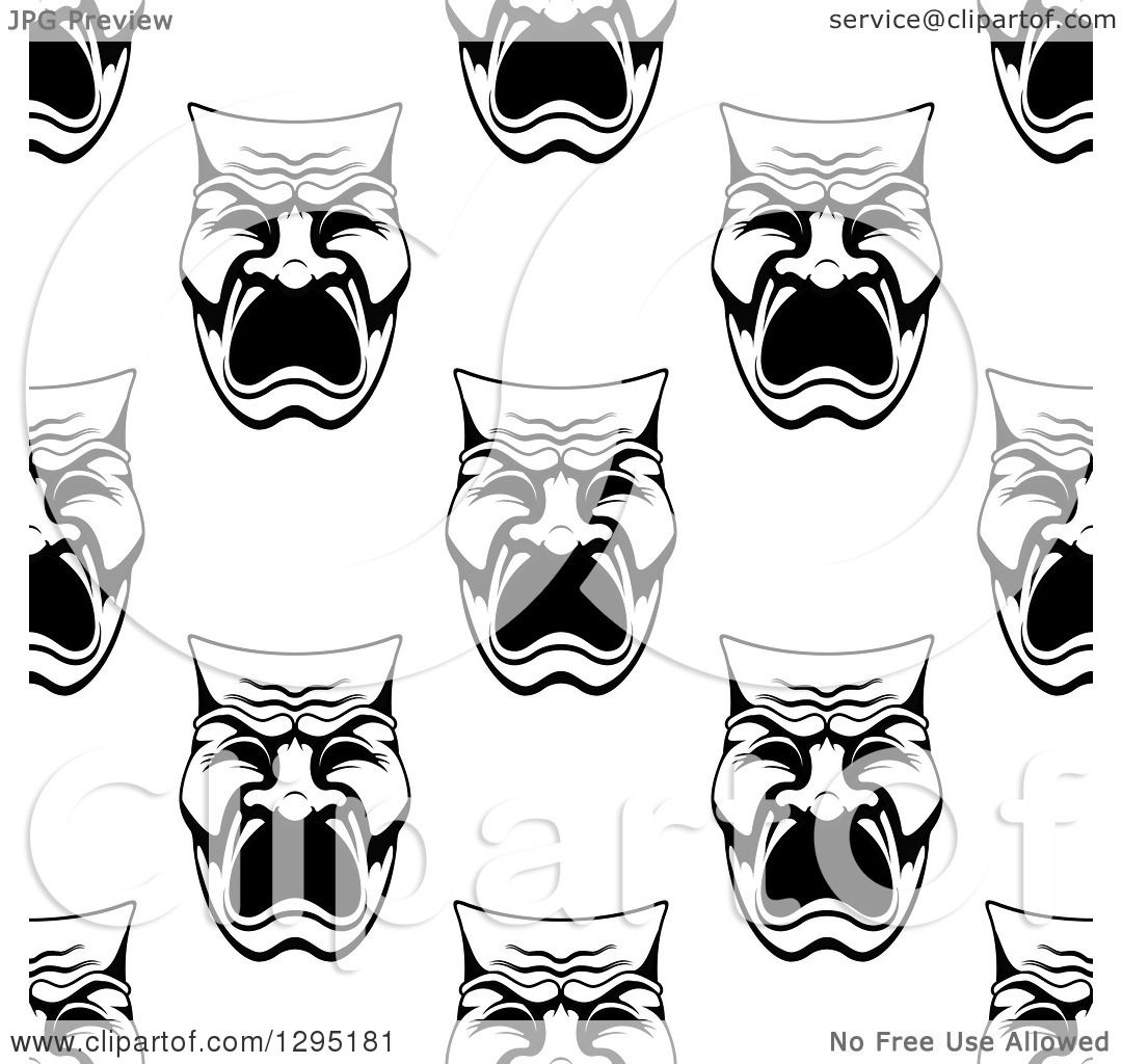 Clipart of a Seamless Background Pattern of Black and White ...