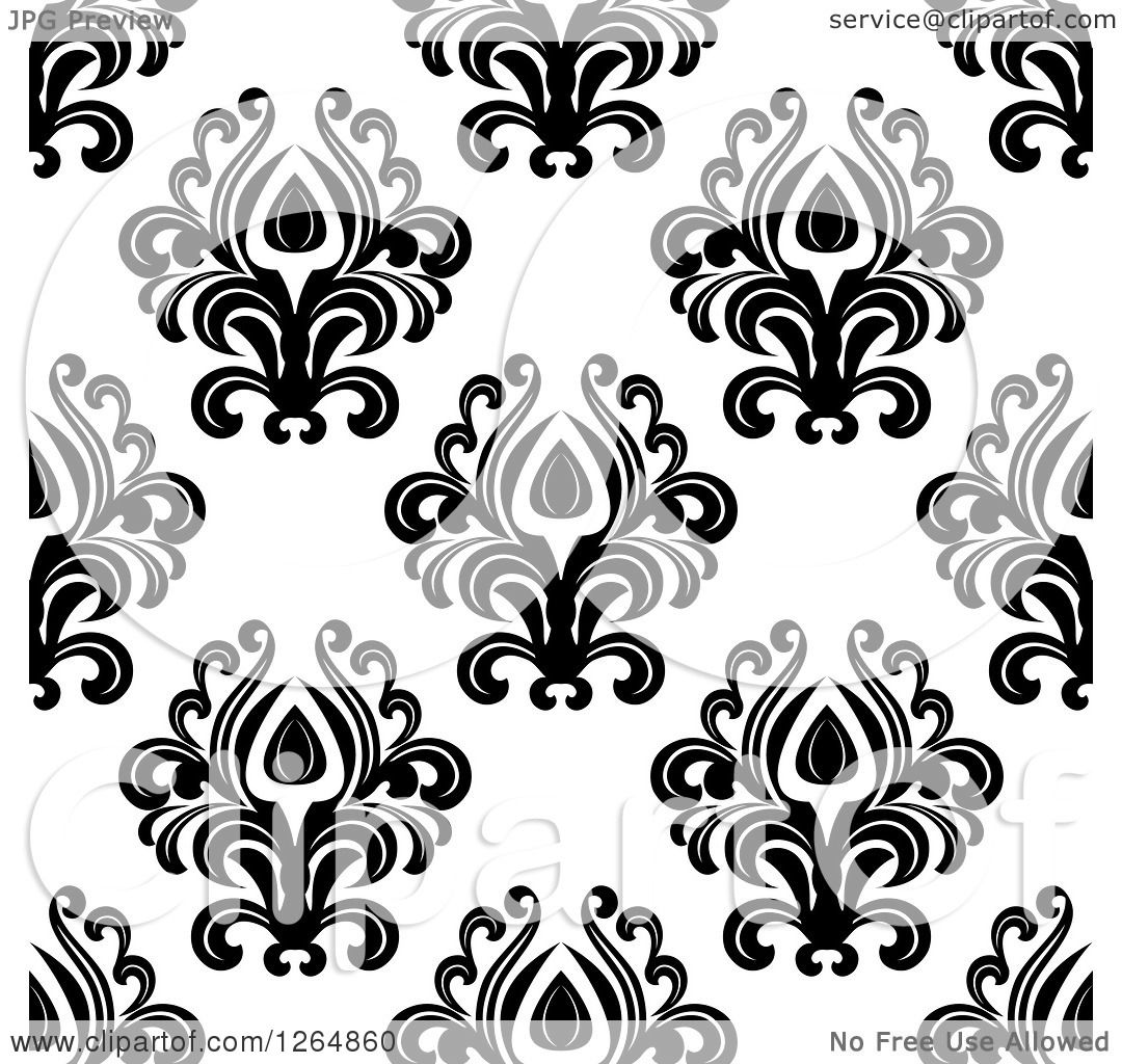Black Flower On White Background Royalty Free Stock: Clipart Of A Seamless Background Pattern Of Black Floral