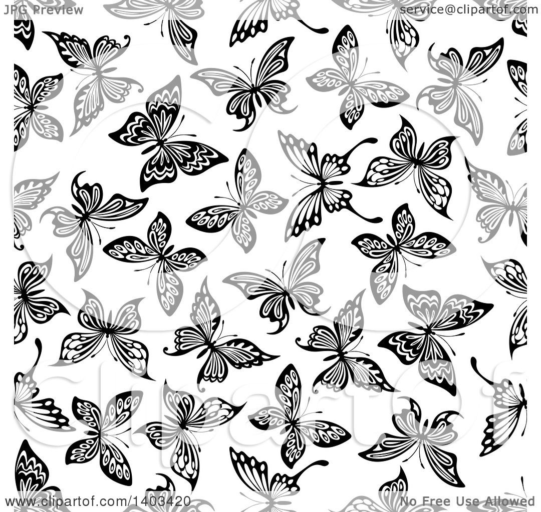 clipart of a seamless background pattern of butterflies royalty