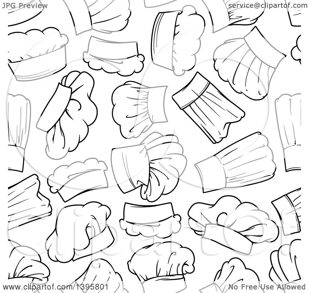 8d07a9bc403 Clipart of a Seamless Background Pattern of Chef Hats - Royalty Free Vector  Illustration by Vector Tradition SM