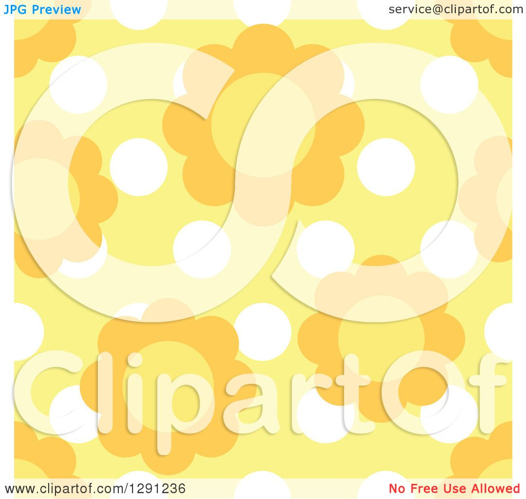 Clipart of a seamless background pattern of daisy flowers over white clipart of a seamless background pattern of daisy flowers over white polka dots on yellow royalty free vector illustration by visekart izmirmasajfo