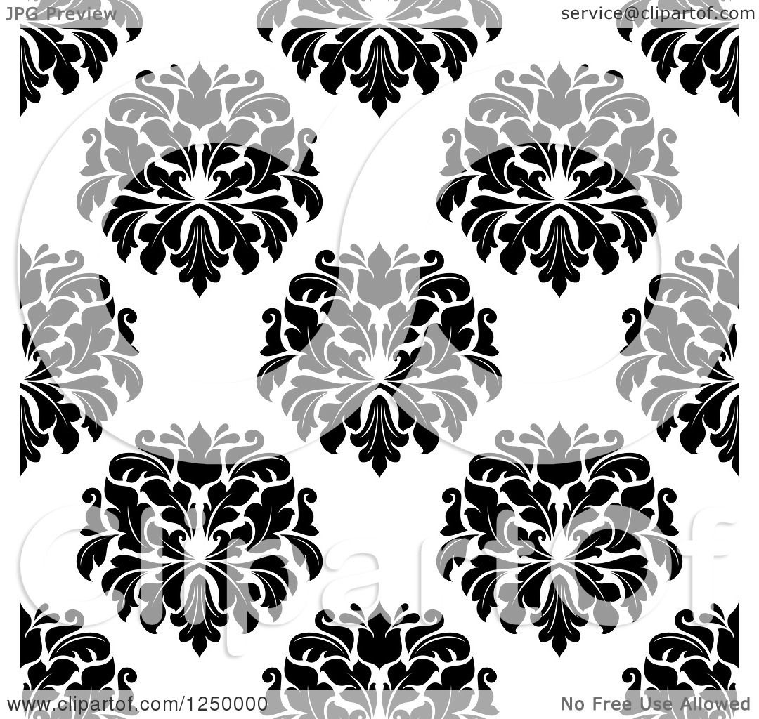 Clipart Black And White Triangular Damask Pattern Seamless
