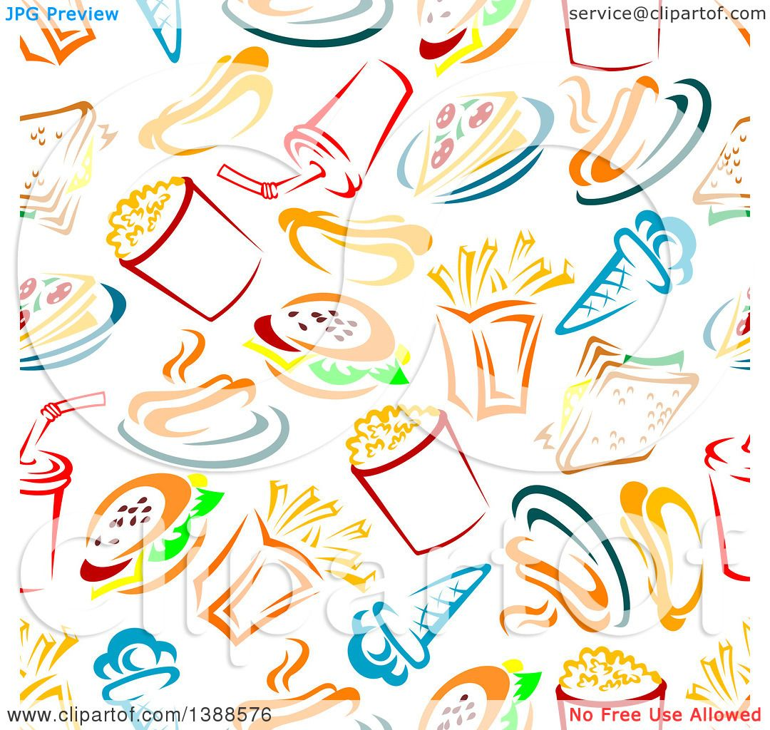 Clipart of a Seamless Background Pattern of Fast Foods - Royalty ...