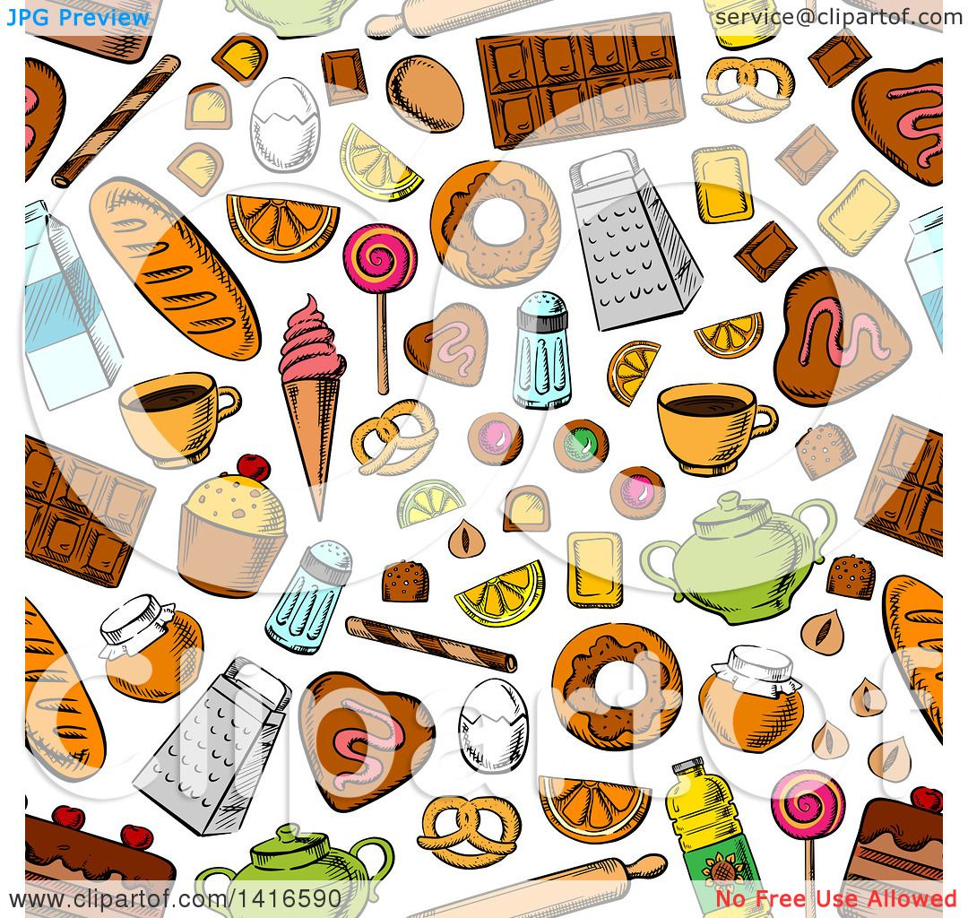 Clipart of a Seamless Background Pattern of Food - Royalty Free ...
