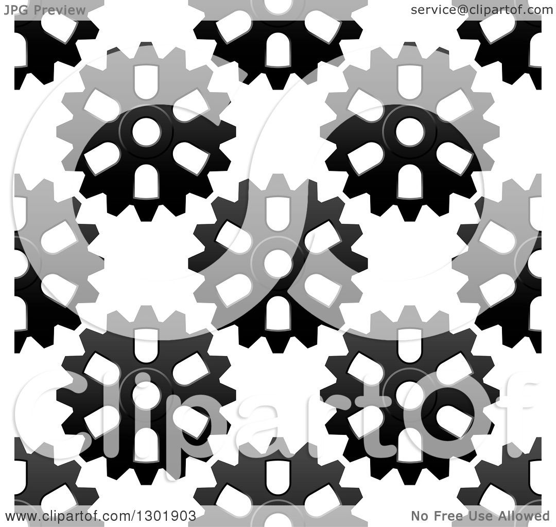 Clipart Seamless Pink Purple And Green Floral Burst: Clipart Of A Seamless Background Pattern Of Grayscale Gear