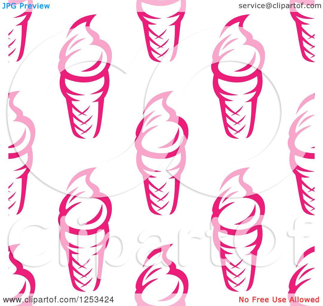 Ice Cream Cones Background Royalty Free Vector Image: Clipart Of A Seamless Background Pattern Of Pink Ice Cream