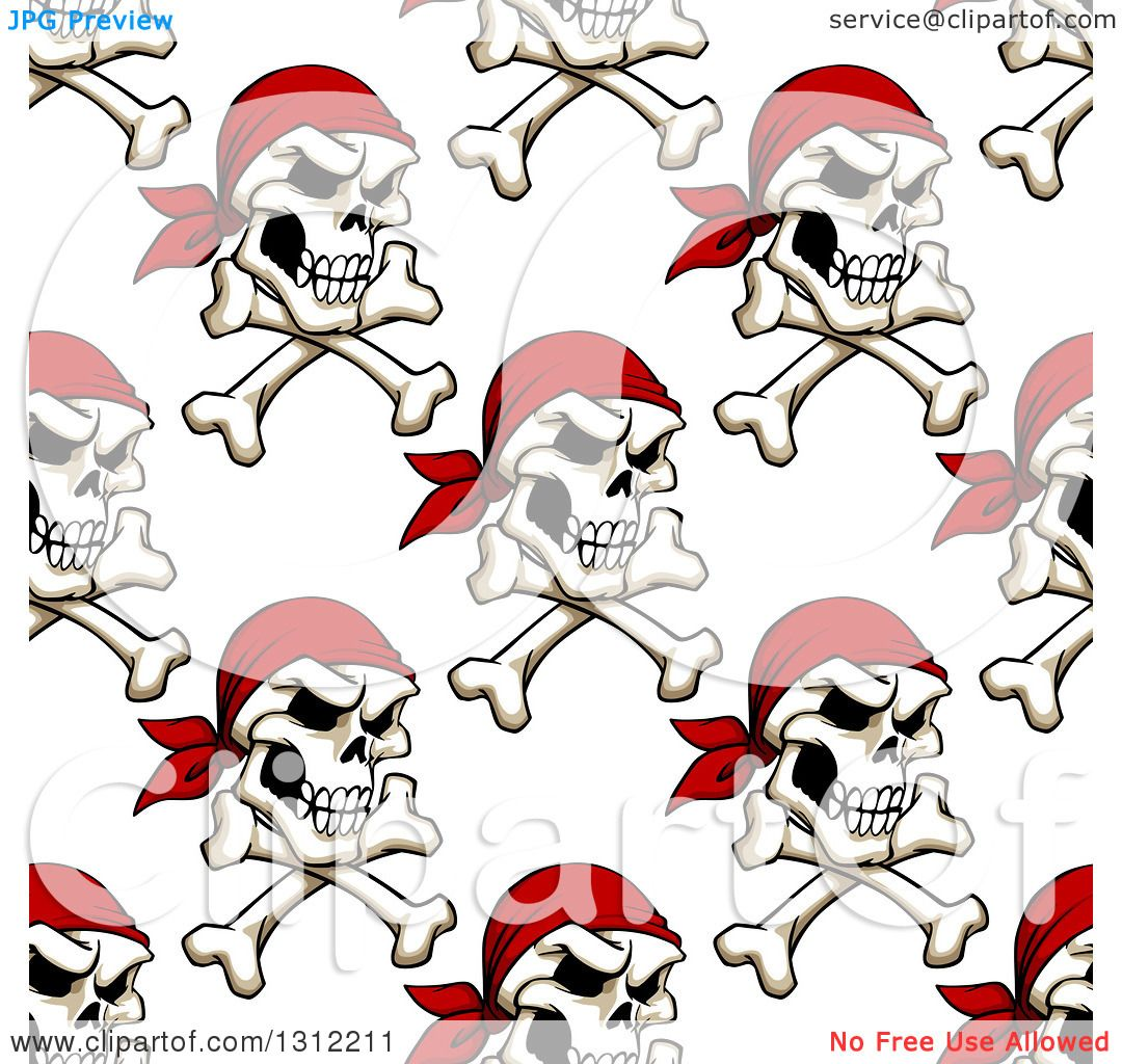 Clipart Of A Seamless Background Pattern Of Pirate Skulls