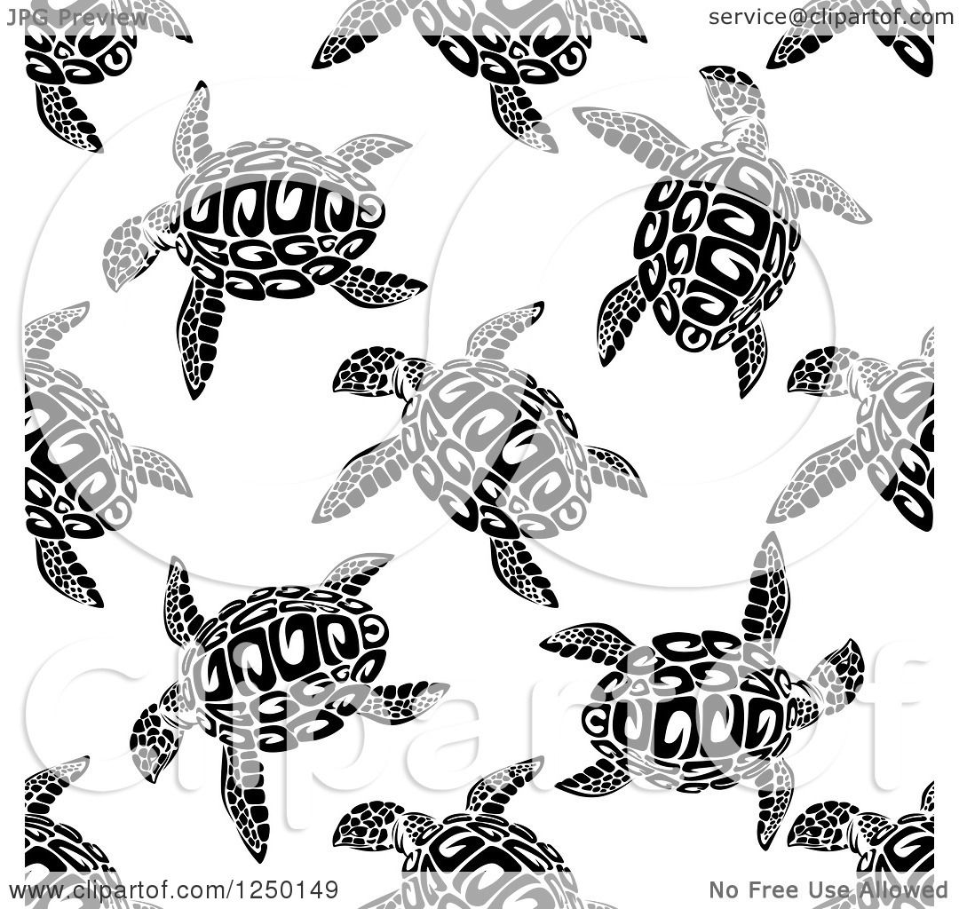 Clipart Of A Seamless Background Pattern Of Sea Turtles