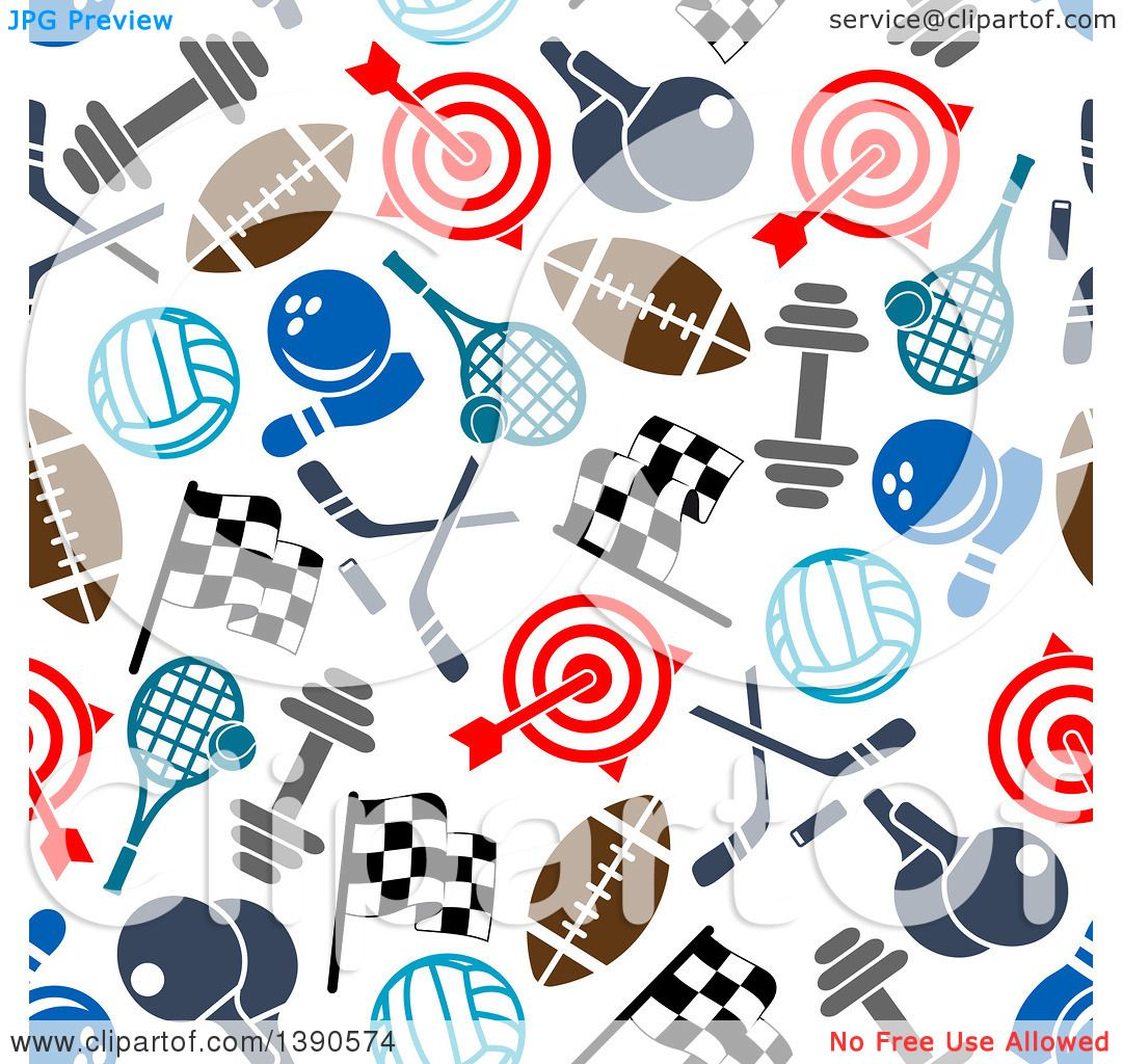 Clipart of a Seamless Background Pattern of Sports Equipment ...
